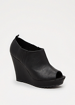Black Open Toe Wedge Heel by Qupid®