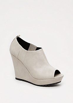 Stone Open Toe Wedge Heel by Qupid®