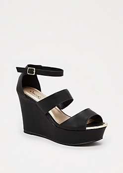 Black Metal Toe Wedge Heel by Qupid®