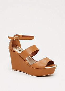 Camel Metal Toe Wedge Heel by Qupid®