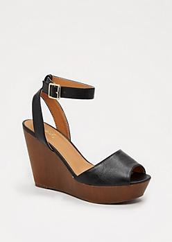 Black Wooden Wedge Heel by Qupid®