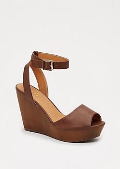 Brown Wooden Wedge Heel by Qupid®