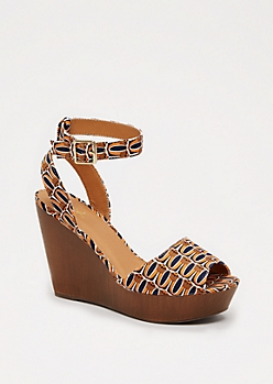 Geo Wooden Wedge Heel by Qupid®