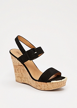 Black Gold Toe Wedge Heel By Qupid®