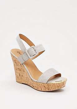 Gray Gold Toe Wedge Heel By Qupid®