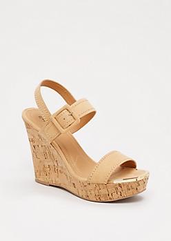 Tan Gold Toe Wedge Heel By Qupid®