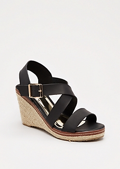 Black Strappy Espadrille Wedge Heel By Qupid®