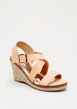 Peach Strappy Espadrille Wedge Heel By Qupid®