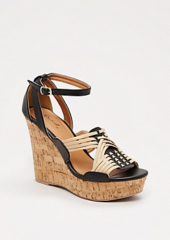 Black Woven Wedge Heel By Qupid®