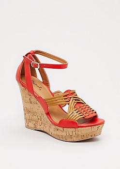 Spicy Orange Woven Wedge Heel By Qupid®