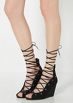 Black Peep-Toe Wedge Gladiator By Qupid®