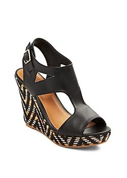 Black Basket Weave Espadrille Wedge By Qupid®