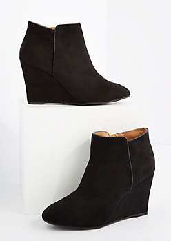 Black Mock Suede Wedged Booties By Qupid