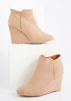 Taupe Mock Suede Wedged Booties By Qupid