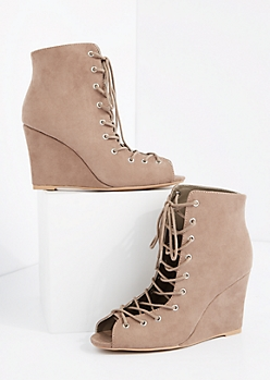 Taupe Lace Up Mock Suede Wedge Shootie by Qupid®