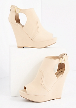 Pale Nude Platform Wedge Shootie by Qupid®