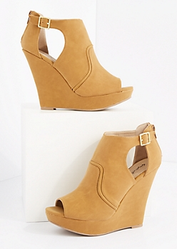 Camel Platform Wedge Shootie by Qupid®
