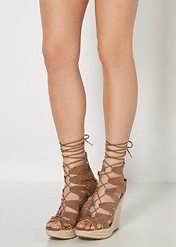 Taupe Microsuede Wedge Espadrille
