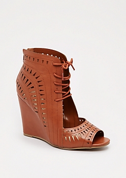 Cognac Geo Cut-Out Wedge Heel