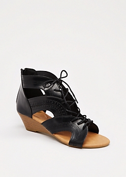 Black Arched Lace-Up Wedge Heel