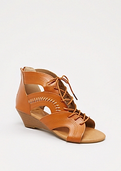 Cognac Arched Lace-Up Wedge Heel