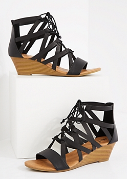 Black Caged Lace-Up Wedge Heel