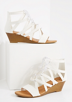 White Caged Lace-Up Wedge Heel
