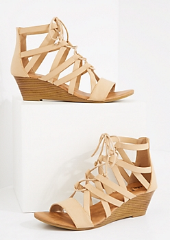 Nude Caged Lace-Up Wedge Heel