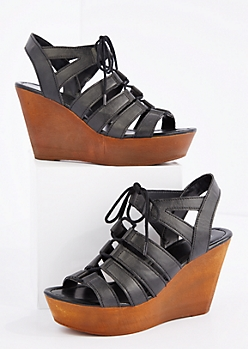 Black Lace-Up Wedge Heel