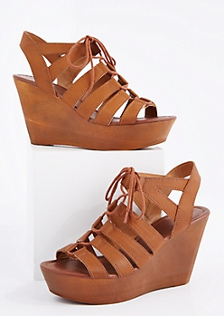 Cognac Lace-Up Wedge Heel