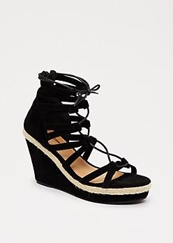 Black Jute Wedge Heel By Celebrity Pink®