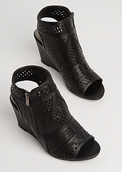 Black Geo Cutout Wedge Heel