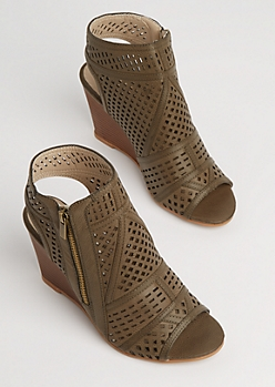 Olive Geo Cutout Wedge Heel