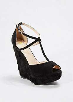 Black Layered Fringe T-Strap Wedge by Chase&Chloe®