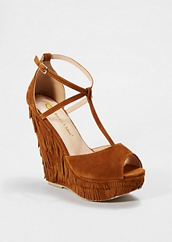 Brown Layered Fringe T-Strap Wedge by Chase & Chloe®