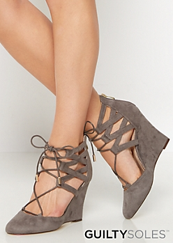 Izzie Vegan Suede Caged Wedge by GuiltySoles