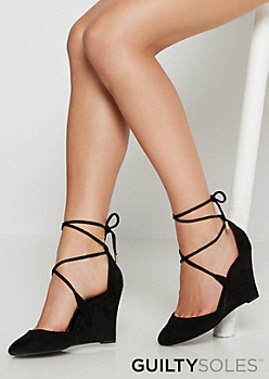 Black Taryn Vegan Suede Lace-Up Wedge by GuiltySoles