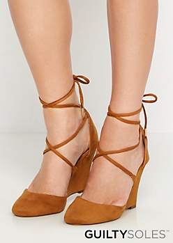 Tan Taryn Vegan Suede Lace-Up Wedge by GuiltySoles