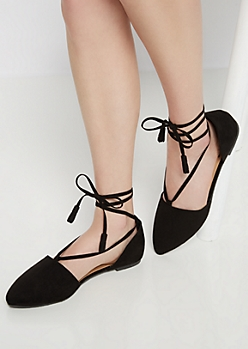 Tassel Tie Lace-Up Ballet Flat