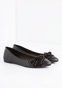Black Bow Tie Studded Flat