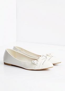 White Bow Tie Studded Flat
