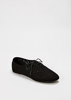 Black Perforated Microsuede Oxford