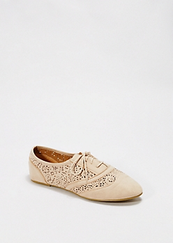 Taupe Perforated Microsuede Oxford