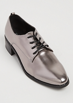 Gray Metallic Faux Leather Oxford Shoes