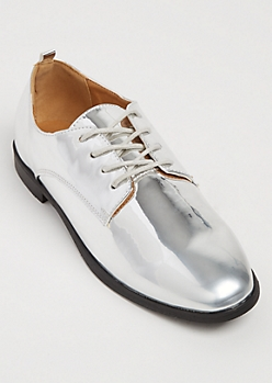 Silver Metallic Oxford Shoes