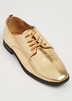Gold Metallic Oxford Shoes