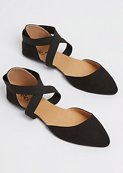 Black Pointed Toe Cross Strap Flat