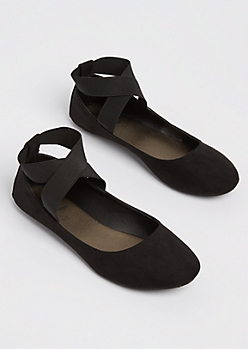 Black Jersey Cross Strap Flat