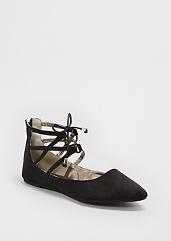 Black Caged Pointed Toe Flat