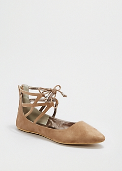 Taupe Caged Pointed Toe Flat